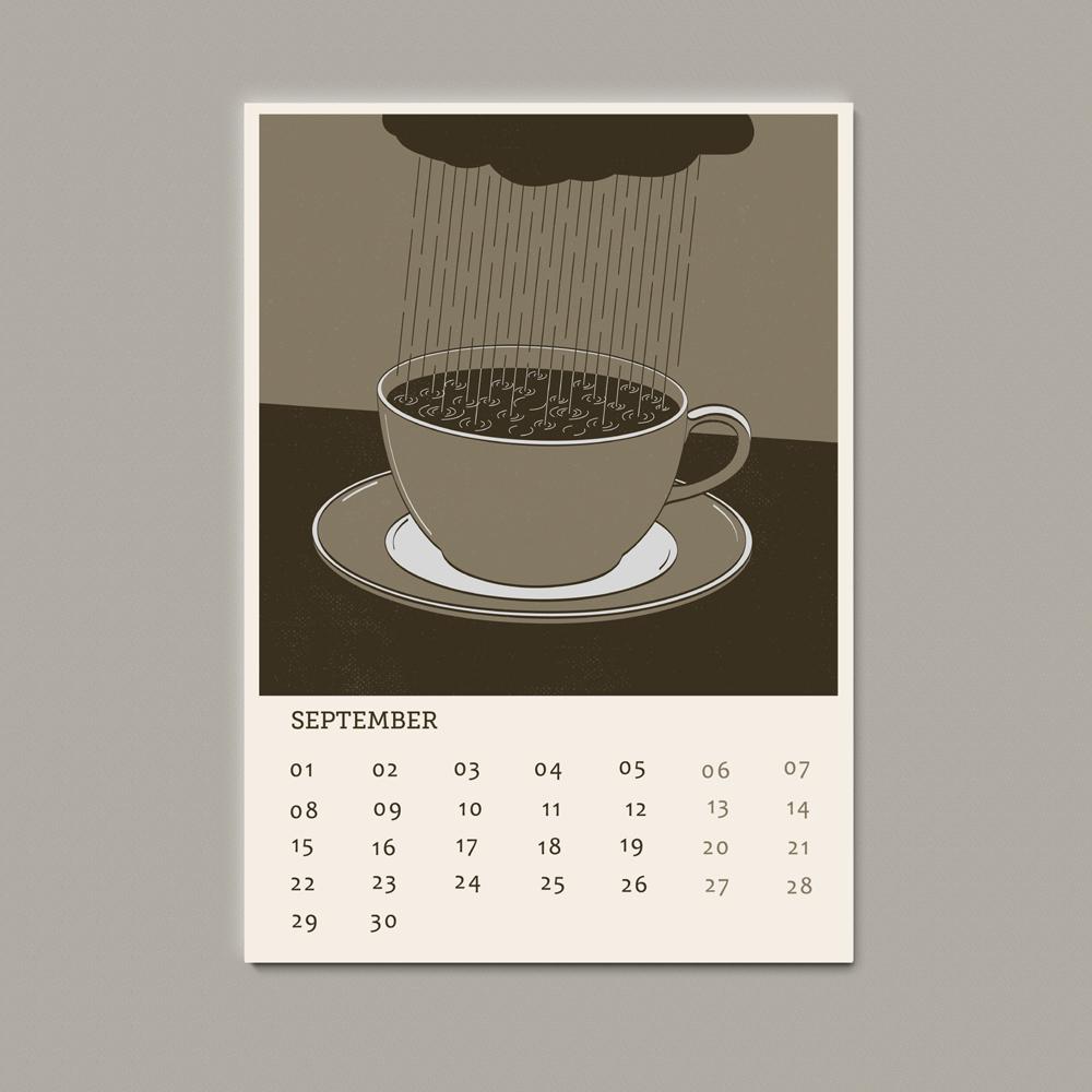 Morning coffee illustration calendar