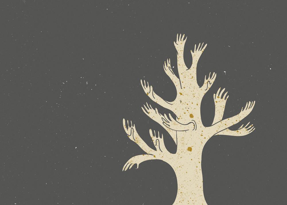 Dreams Tree hands illustration